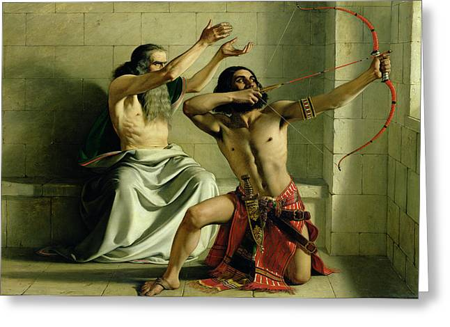 Archer Greeting Cards - Joash Shooting the Arrow of Deliverance Greeting Card by William Dyce