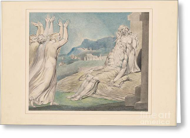 Blake; William (1757-1827) Greeting Cards - Jobs Comforters Greeting Card by MotionAge Designs
