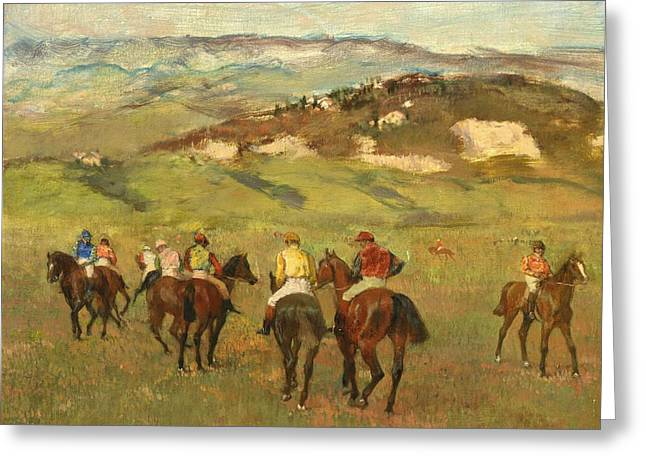 Jockey Greeting Cards - Jockeys on Horseback before Distant Hills Greeting Card by Edgar Degas