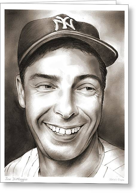 Joe Dimaggio Greeting Card by Greg Joens