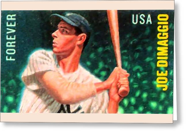 Batter Paintings Greeting Cards - Joe Dimaggio Greeting Card by Lanjee Chee