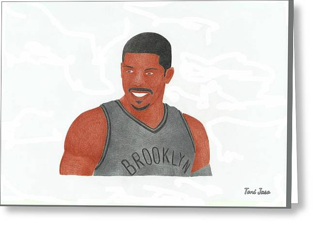 Slam Drawings Greeting Cards - Joe Johnson  Greeting Card by Toni Jaso
