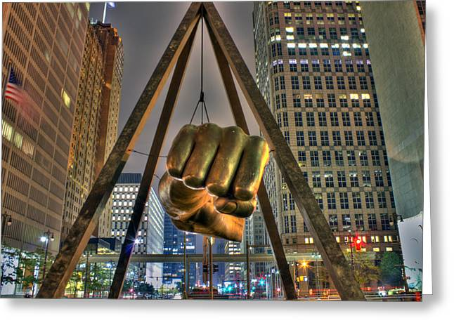 Just Greeting Cards - Joe Louis Fist Detroit MI Greeting Card by Nicholas  Grunas