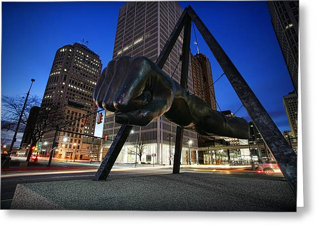 Punch Digital Greeting Cards - Joe Louis Fist Statue Jefferson and Woodward Ave. Detroit Michigan Greeting Card by Gordon Dean II