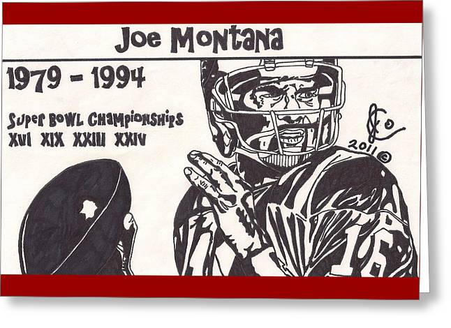 49ers Drawings Greeting Cards - Joe Montana 1 Greeting Card by Jeremiah Colley