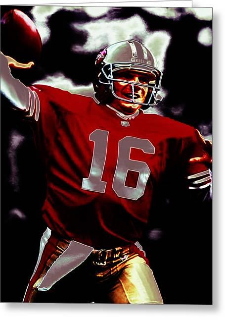 49ers Mixed Media Greeting Cards - Joe Montana The Comeback Kid Greeting Card by Brian Reaves