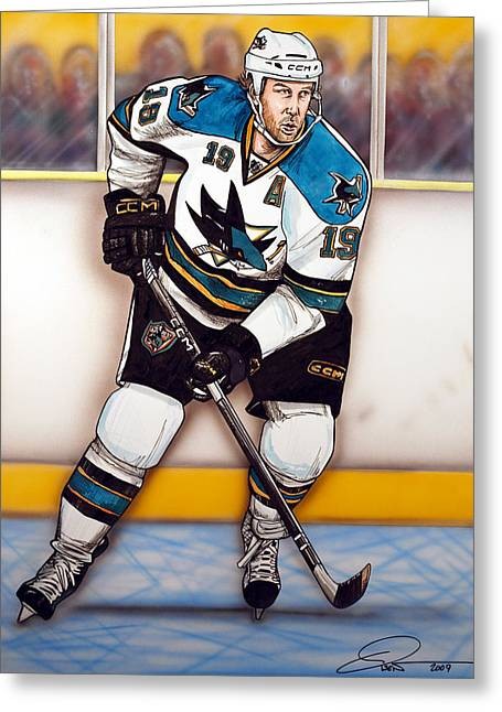 Hockey Paintings Greeting Cards - Joe Thornton San Jose Sharks Greeting Card by Dave Olsen