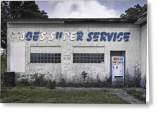 Forgotten Greeting Cards - Joes Super Service Greeting Card by Scott Norris