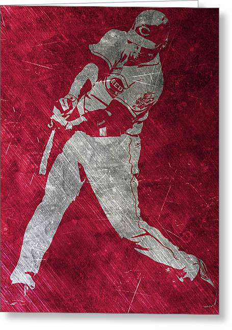 Joey Votto Cincinnati Reds Art Greeting Card by Joe Hamilton