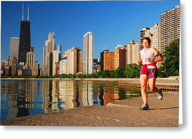 Jogging Greeting Cards - Jogger in the Windy City Greeting Card by James Kirkikis