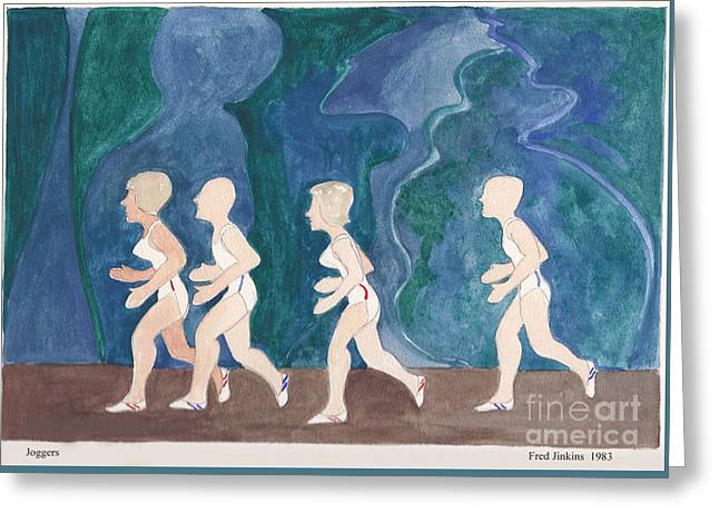 Jogging Mixed Media Greeting Cards - Joggers Greeting Card by Fred Jinkins