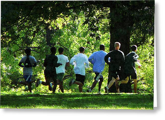 Joggers in the Park Greeting Card by Susan Savad