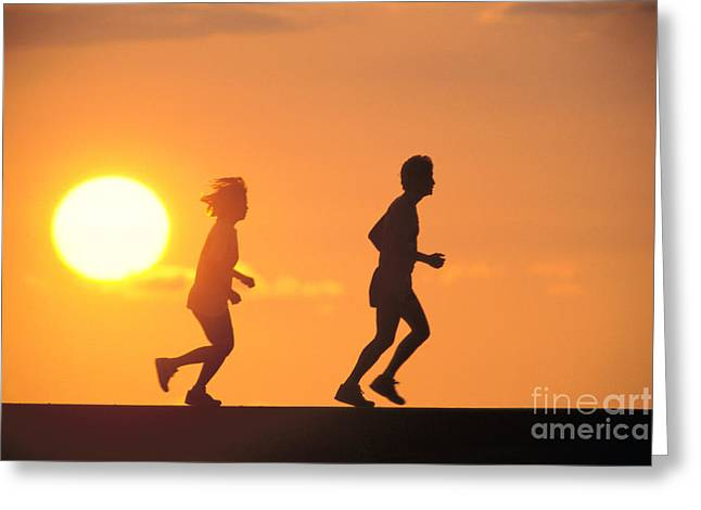 Athletic Sport Greeting Cards - Jogging At Sunset Greeting Card by Joe Carini - Printscapes