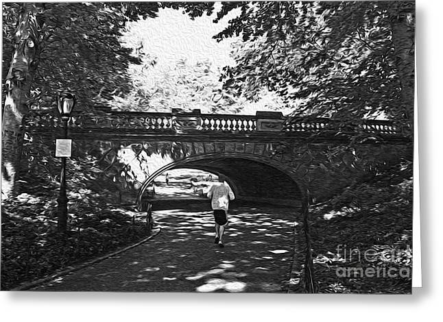 Jogging In Central Park Greeting Card by David Bearden