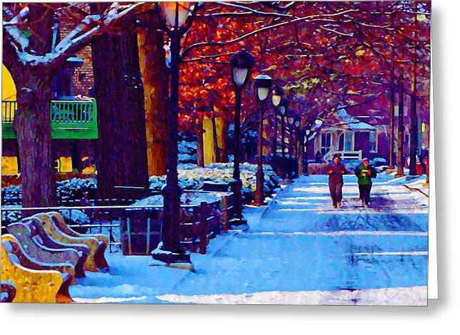 Jogging Greeting Cards - Jogging in the Snow Along Boathouse Row Greeting Card by Bill Cannon