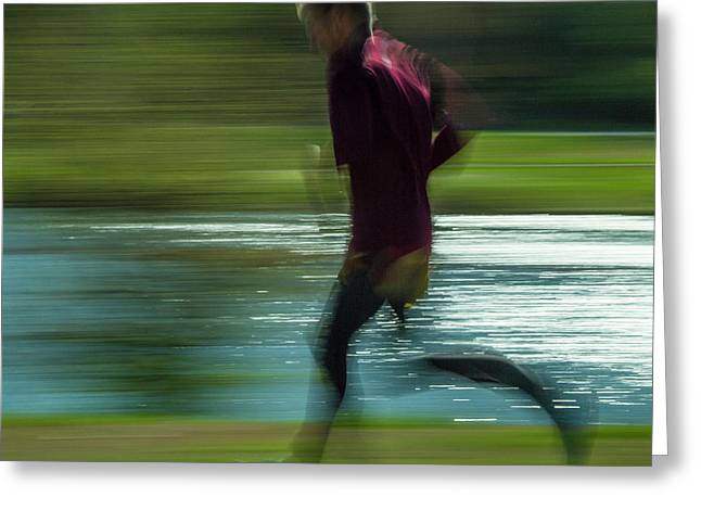 Jogging Through Forest Park Greeting Card by Garry McMichael
