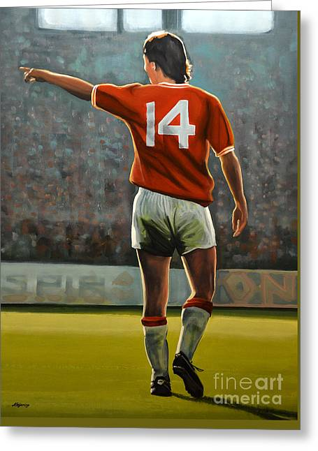 Johan Cruyff Oranje Nr 14 Greeting Card by Paul Meijering
