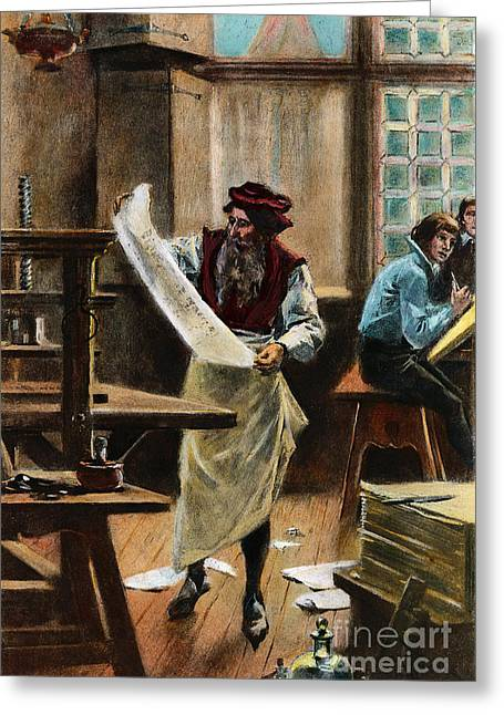 15th Greeting Cards - Johann Gutenberg Greeting Card by Granger