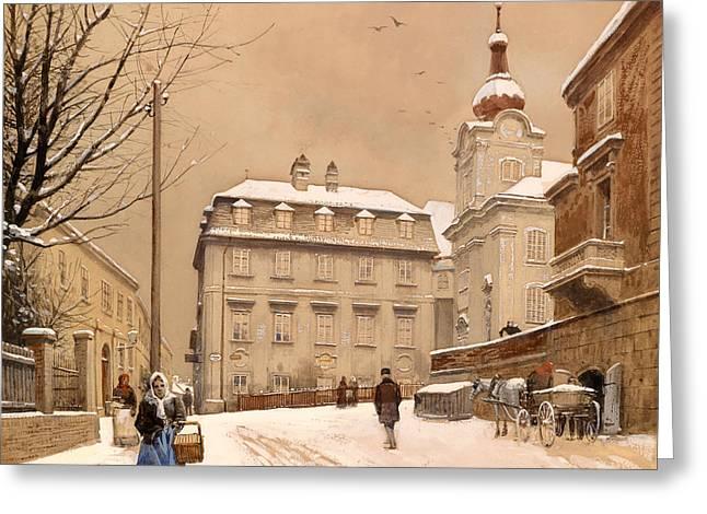 Wintry Greeting Cards - Johannes Chapel Corner Greeting Card by Franze Poledne Dobling