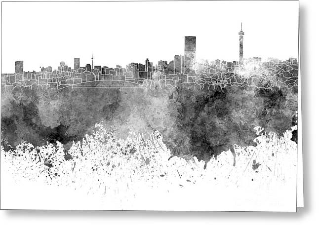 Johannesburg Greeting Cards - Johannesburg skyline in black watercolor on white background Greeting Card by Pablo Romero