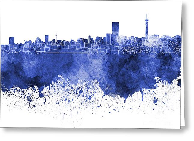 Johannesburg Greeting Cards - Johannesburg skyline in blue watercolor on white background Greeting Card by Pablo Romero