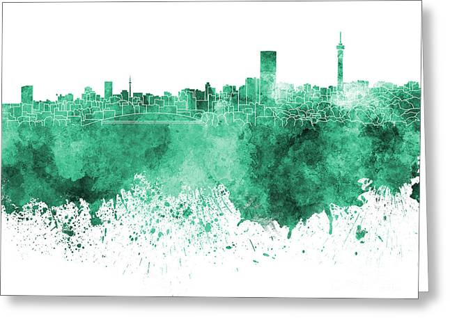 Johannesburg Greeting Cards - Johannesburg skyline in green watercolor on white background Greeting Card by Pablo Romero