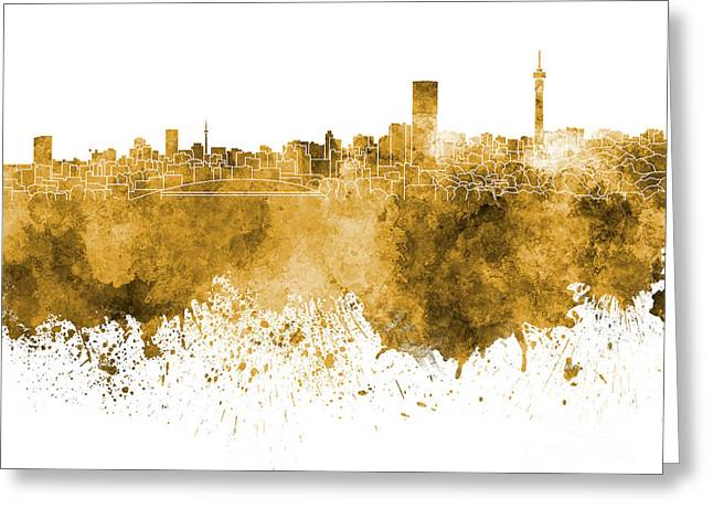 Johannesburg Greeting Cards - Johannesburg skyline in orange watercolor on white background Greeting Card by Pablo Romero