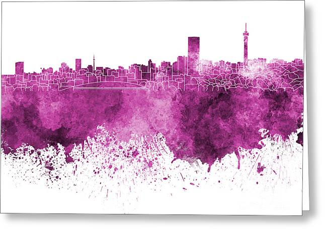 Johannesburg Greeting Cards - Johannesburg skyline in pink watercolor on white background Greeting Card by Pablo Romero
