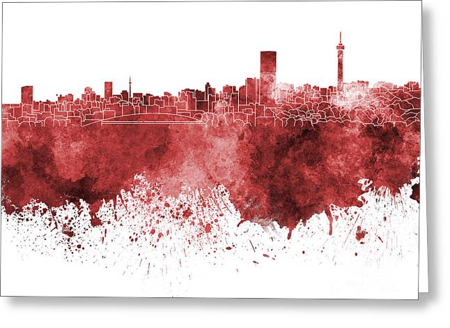 Johannesburg Greeting Cards - Johannesburg skyline in red watercolor on white background Greeting Card by Pablo Romero