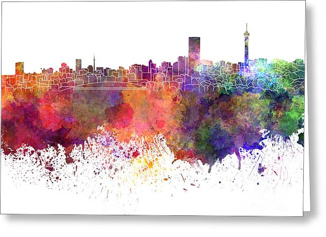 Johannesburg Greeting Cards - Johannesburg skyline in watercolor on white background Greeting Card by Pablo Romero
