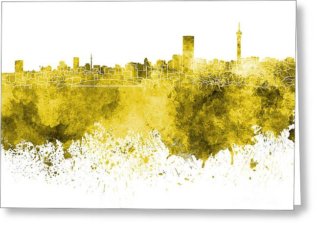 Johannesburg Greeting Cards - Johannesburg skyline in yellow watercolor on white background Greeting Card by Pablo Romero
