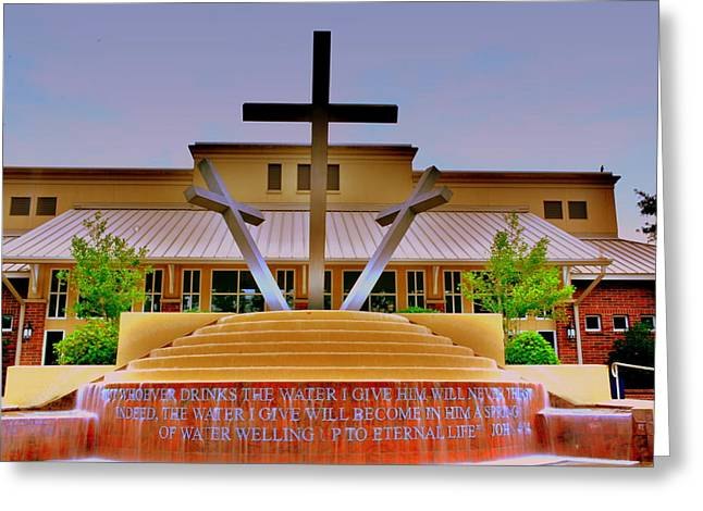 Churches Greeting Cards - John 4 14 Three Crosses H D R Greeting Card by Lisa Wooten