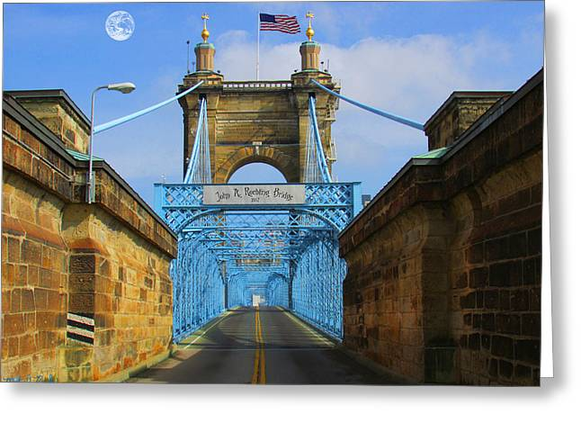 National Underground Railroad Freedom Center Greeting Cards - John A. Roebling Suspension Bridge Greeting Card by Michael Rucker