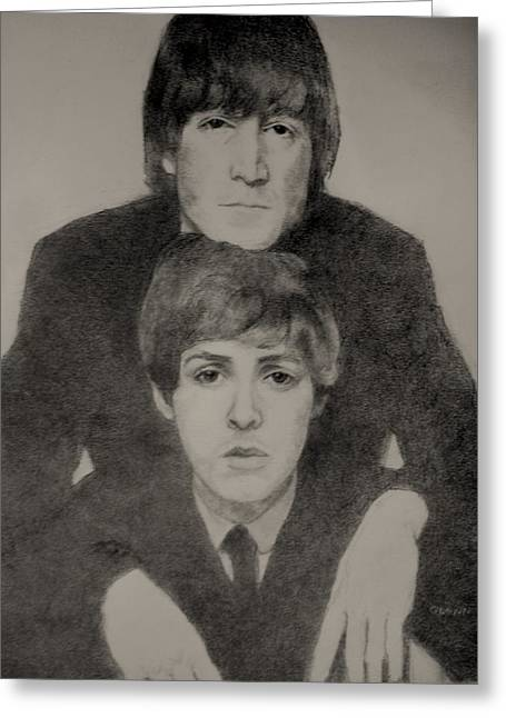 Paul Mccartney Drawings Greeting Cards - John and Paul Greeting Card by Glenn Daniels