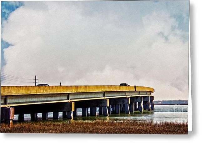 Scenic Drive Greeting Cards - John B. Whealton Memorial Causeway Greeting Card by Tom Gari Gallery-Three-Photography