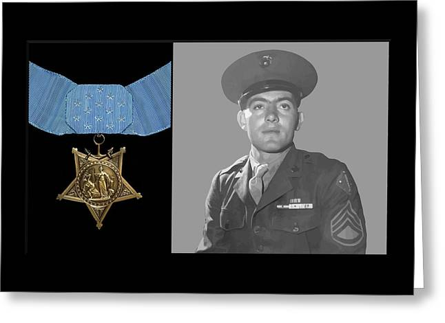 Semper Fidelis Greeting Cards - John Basilone and The Medal of Honor Greeting Card by War Is Hell Store
