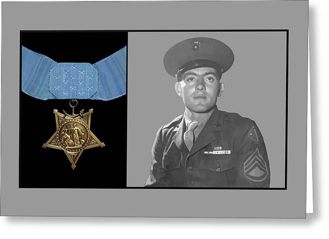 Patriots Mixed Media Greeting Cards - John Basilone and The Medal of Honor Greeting Card by War Is Hell Store