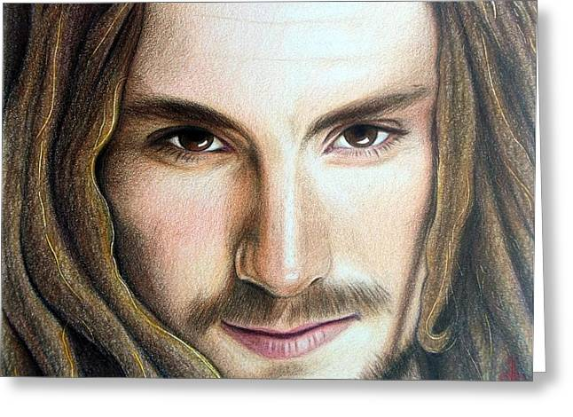 Earth Tones Drawings Greeting Cards - John Butler Greeting Card by Danielle R T Haney