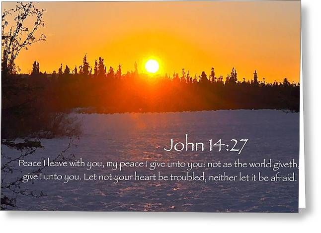 John Chapter 14 Verse 27 Greeting Card by Arlene Rhoda Nanouk