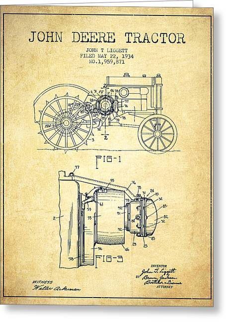 John Deere Tractor Patent Drawing From 1934 - Vintage Greeting Card by Aged Pixel