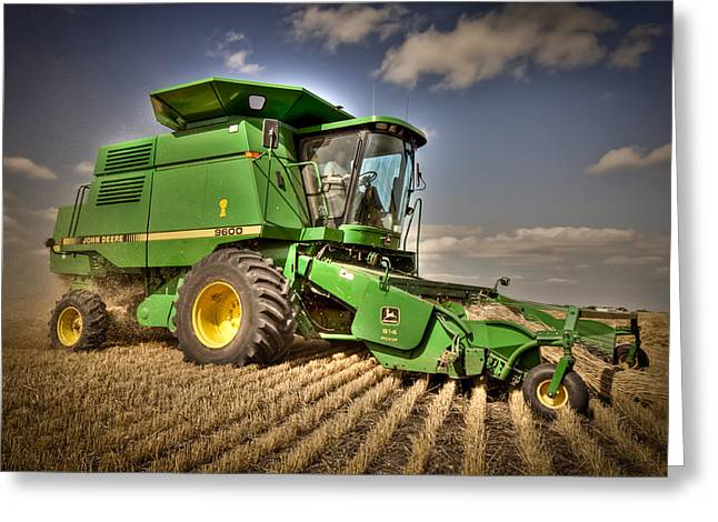 Recently Sold -  - Farmers Field Greeting Cards - John Deere Combine Greeting Card by Matt Dobson