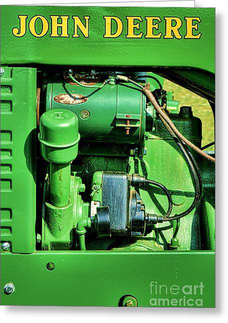 Dynamos Photographs Greeting Cards - John Deere Tractor Engine Detail Greeting Card by Olivier Le Queinec