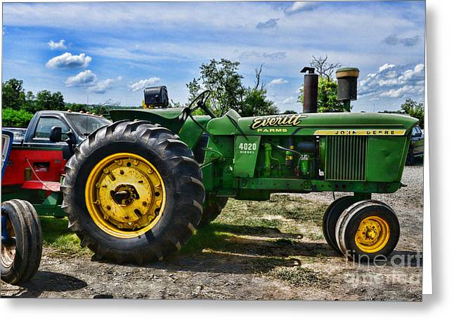 Old Barns Greeting Cards - John Deere Tractor Just Sitting There Greeting Card by Paul Ward