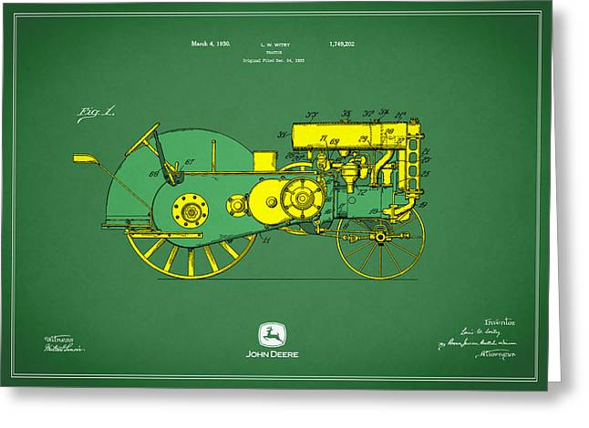 Tractor Greeting Cards - John Deere Tractor Patent Greeting Card by Mark Rogan