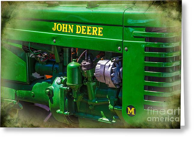 Dynamos Greeting Cards - John Deere Vintage tractor Greeting Card by Darrell Hutto