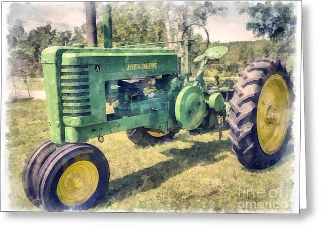 Lawn Greeting Cards - John Deere Vintage Tractor Watercolor Greeting Card by Edward Fielding