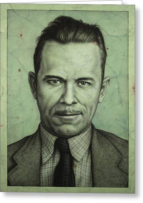 Depression Greeting Cards - John Dillinger Greeting Card by James W Johnson