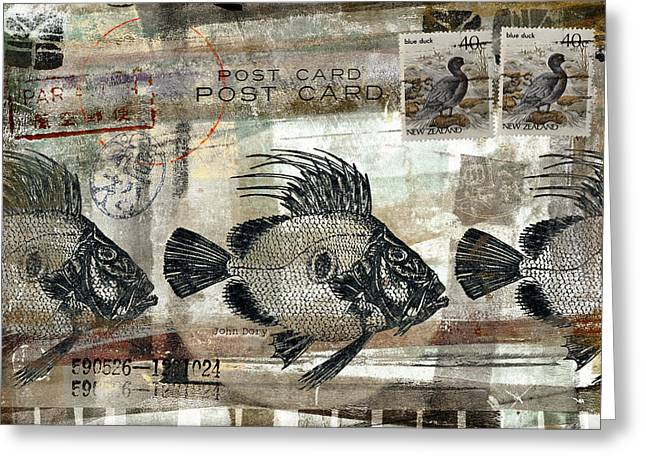 Postage Mixed Media Greeting Cards - John Dory Fish Postcard Greeting Card by Carol Leigh