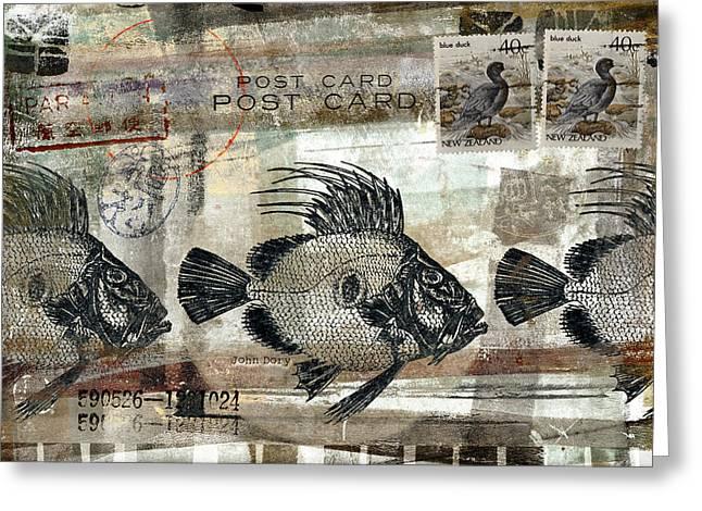 Postcard Mixed Media Greeting Cards - John Dory Fish Postcard Greeting Card by Carol Leigh