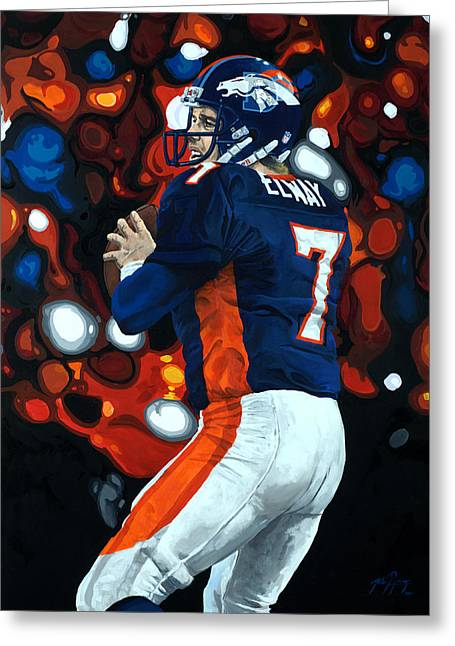 Elway Greeting Cards - John Elway - Legacy Greeting Card by Mike Lorenzo